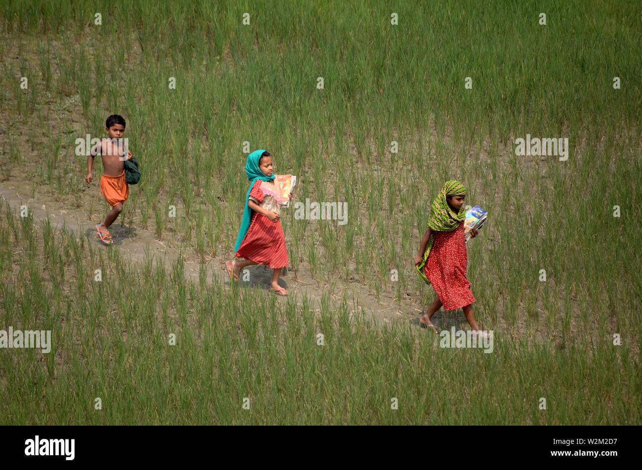 Children returning from school. Kalihati, Tangail, Bangladesh. March 4, 2008. - Stock Image