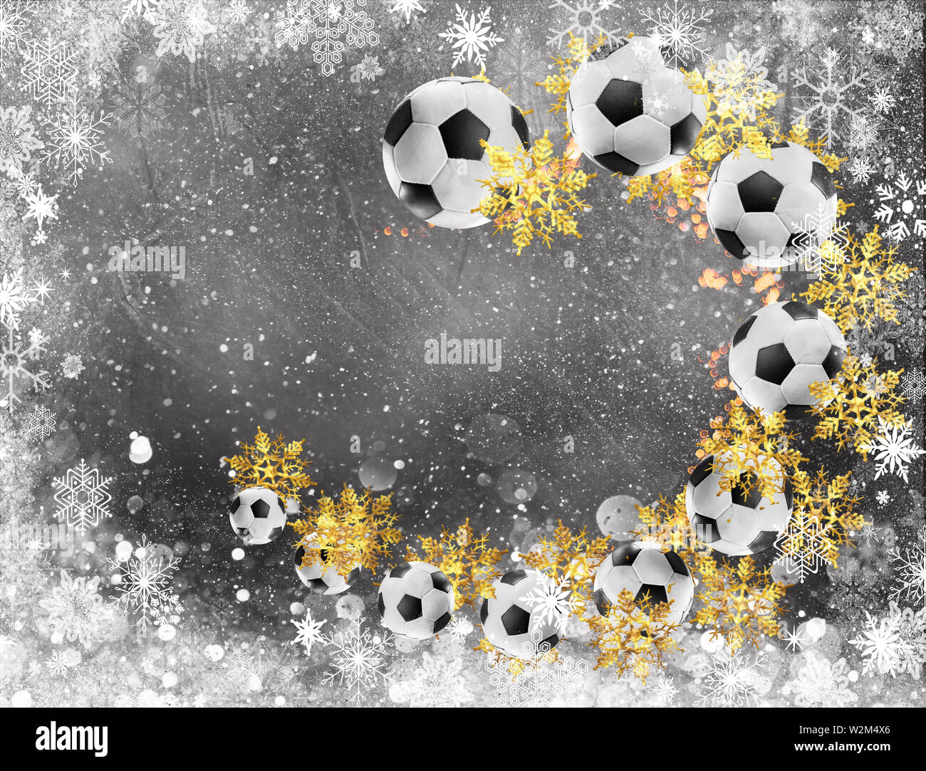Christmas Sports Background.Soccer Christmas Background Soccer Balls Flying In Circles