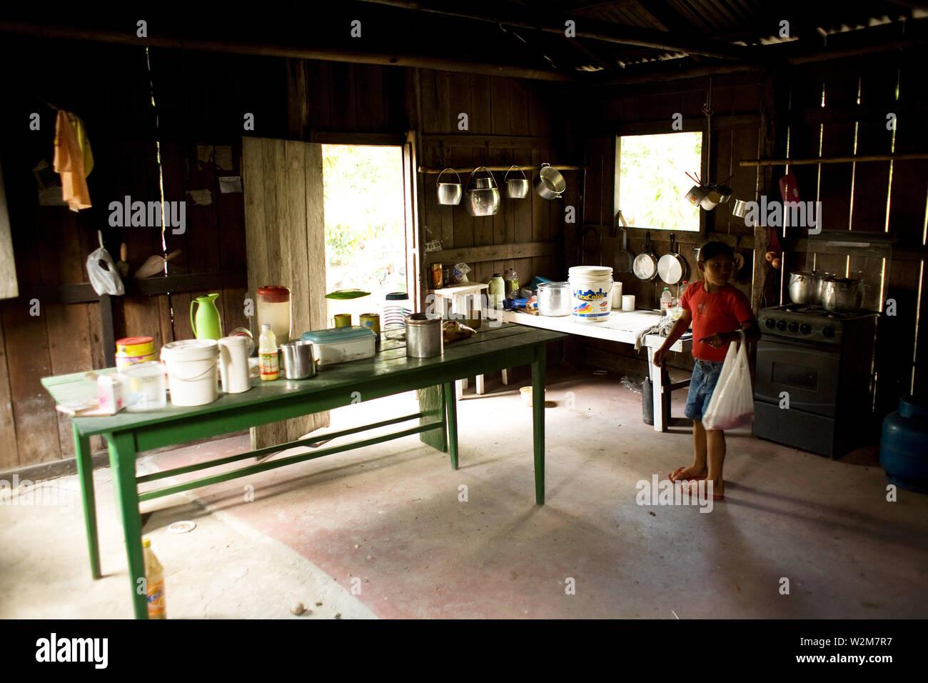 House, Kitchen, Barreirinha Community, Macaco River, Manaus, Amazônia, Amazonas, Brazil Stock Photo