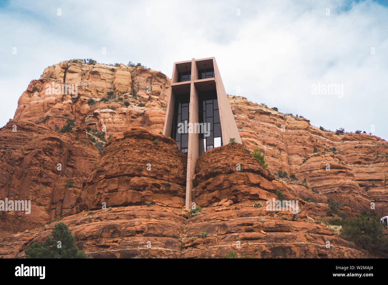 Chapel found upon hiking trail in Sedona, Arizona - Stock Image