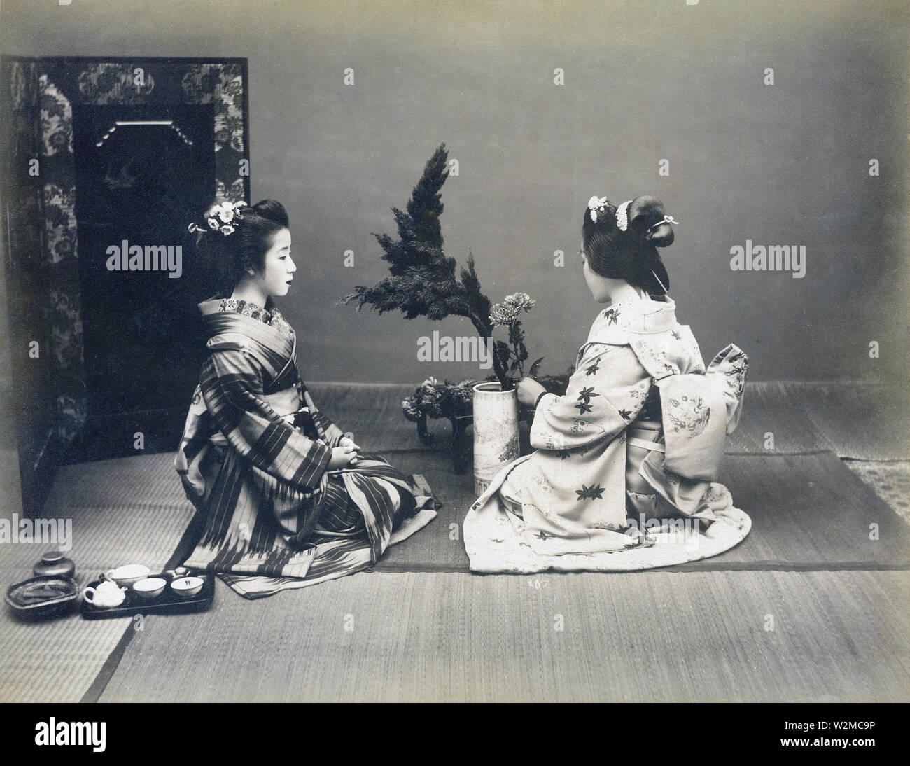 Japan women tending to flowers antique hand tinted albumen art photo