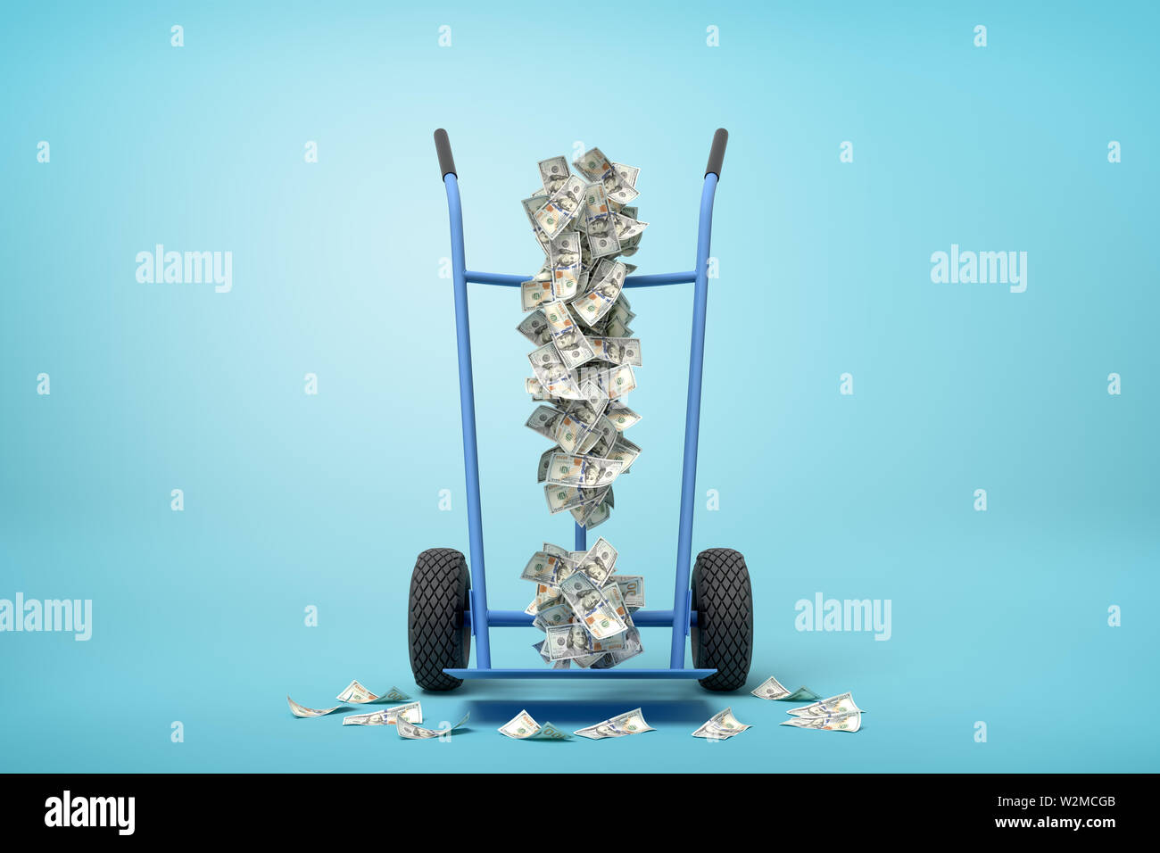 3d rendering of hand truck standing in half-turn with exclamation mark made up of dollar banknotes on it on light-blue background with copy space. - Stock Image