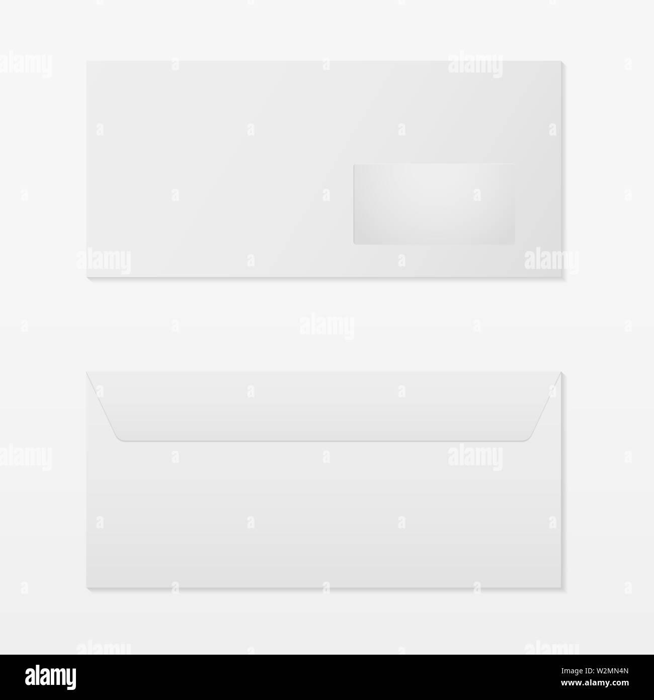Realistic blank envelope isolated on grey back - Stock Image