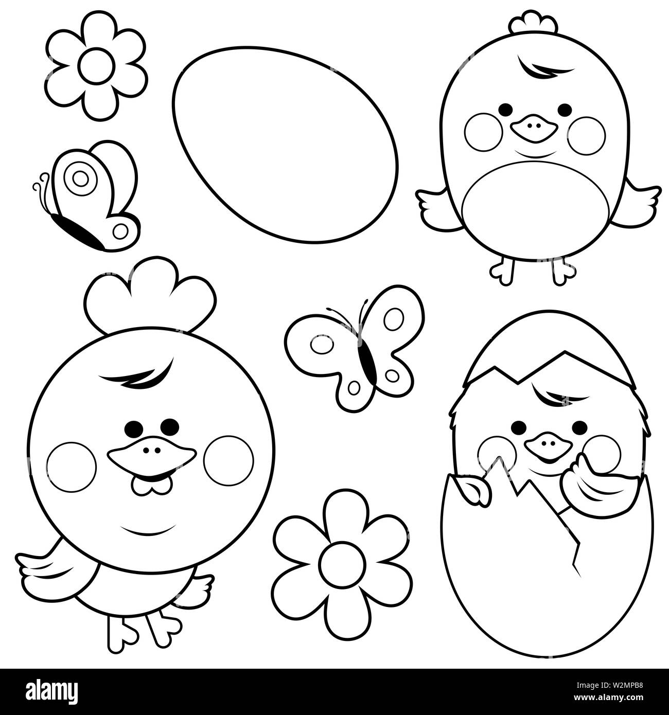 Easter Chick Coloring Page Stock Photos & Easter Chick ...