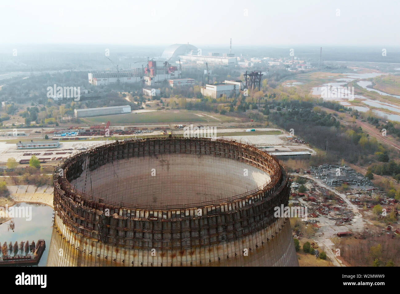 Flying over the cooling tower near Chernobyl NPP. - Stock Image