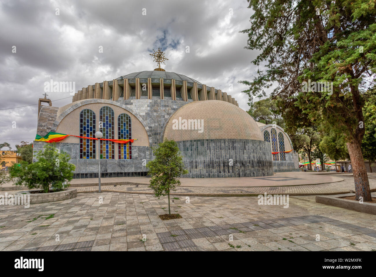 Famous cultural heritage Church of Our Lady of Zion in Axum. Ethiopian Orthodox Tewahedo Church built by Emperor Haile Selassie in the 1950s. - Stock Image