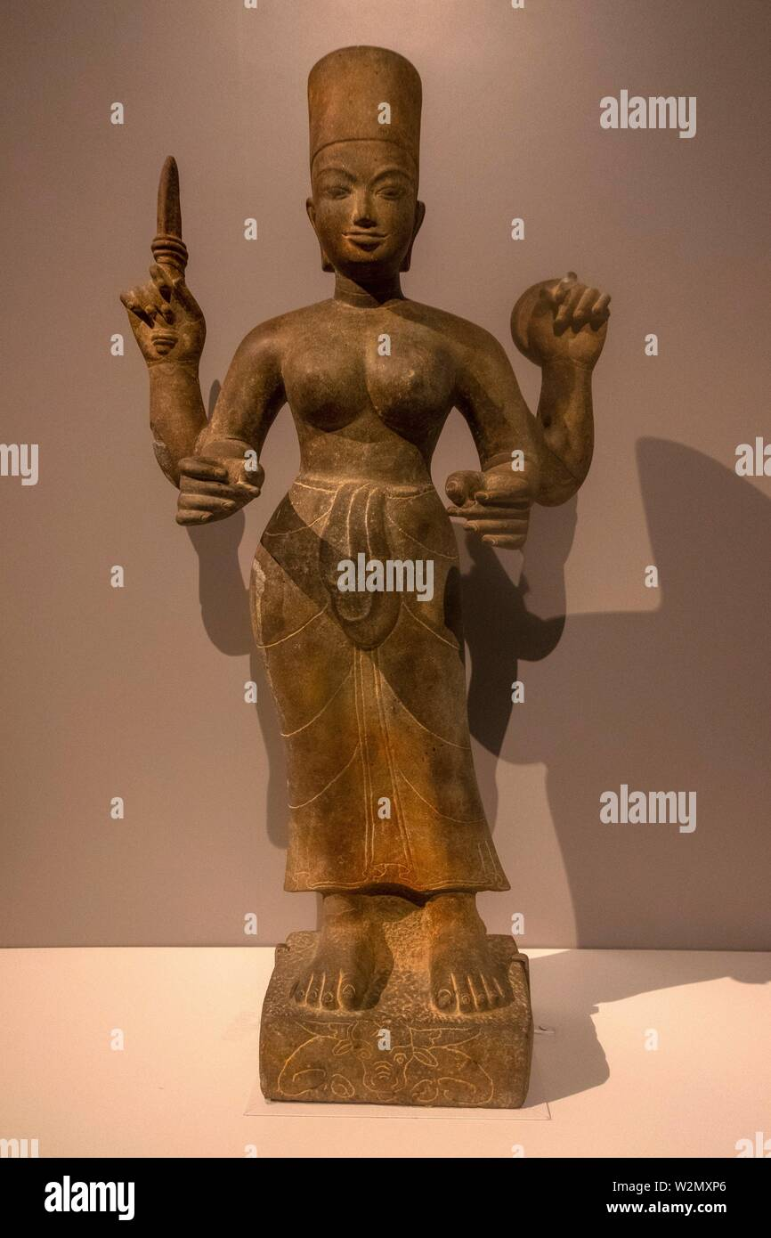 Singapore, Asian Civilisations Museum: 'Durga', Cambodia, Kampong Speu province, 7th.-8th. century. - Stock Image