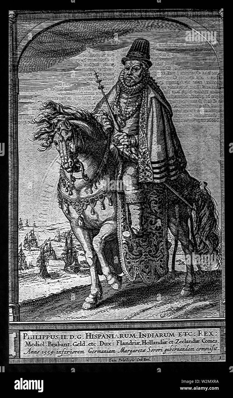 Spain, King Phillip II of Spain and Portugal, 1652, by Emanuel van Metersen. - Stock Image