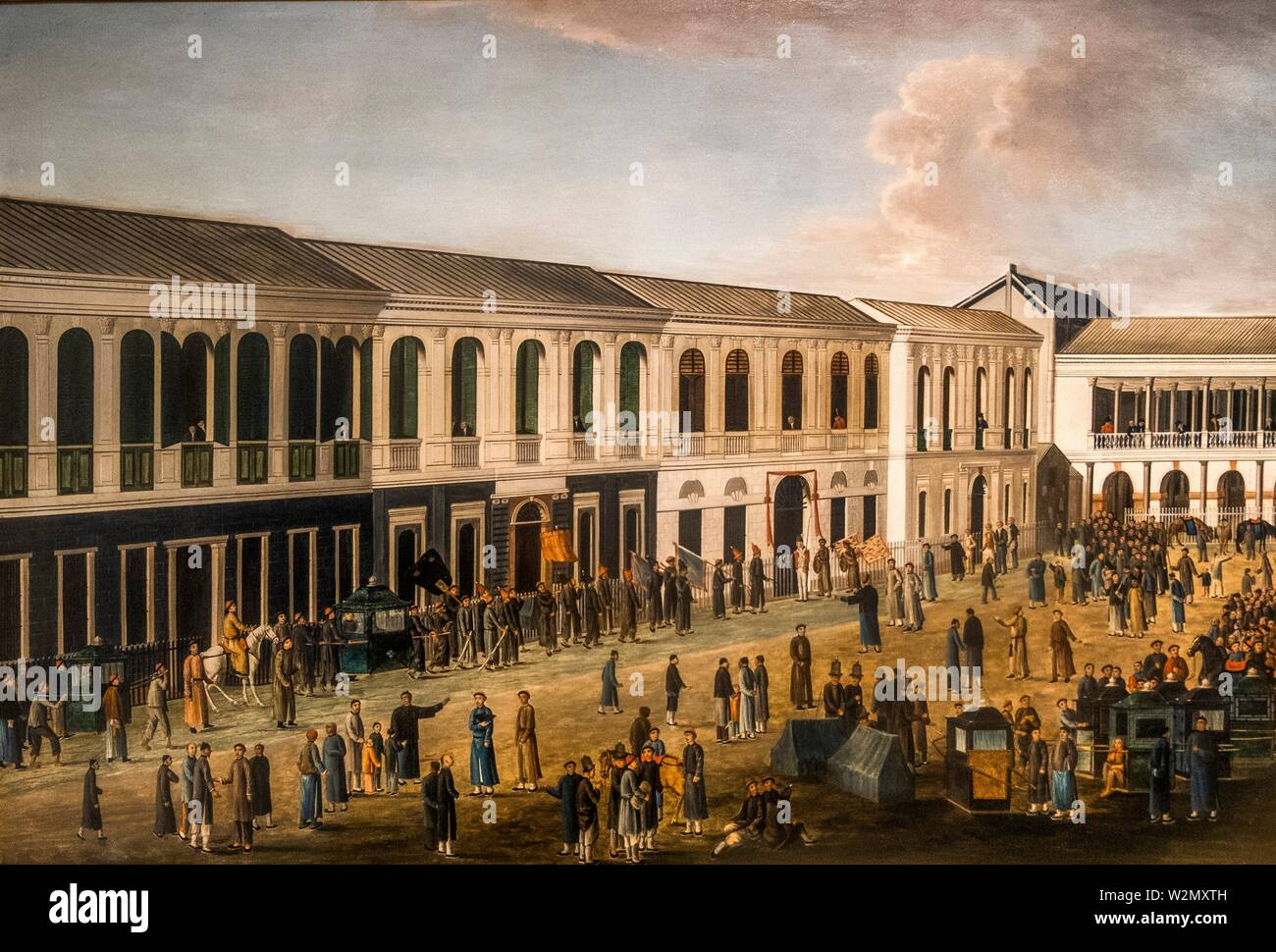 Singapore, Asian Civilisations Museum:.Officials assembling for a trial at the hongs of Canton..(China, Guangzhou, around 1807).Oil on canvas. - Stock Image