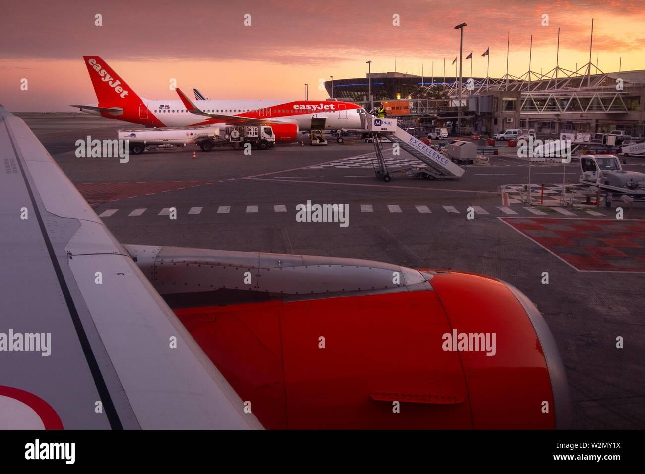 France, Paca, Alpes Maritimes, the Nice-Cote d´Azur airport. Stock Photo