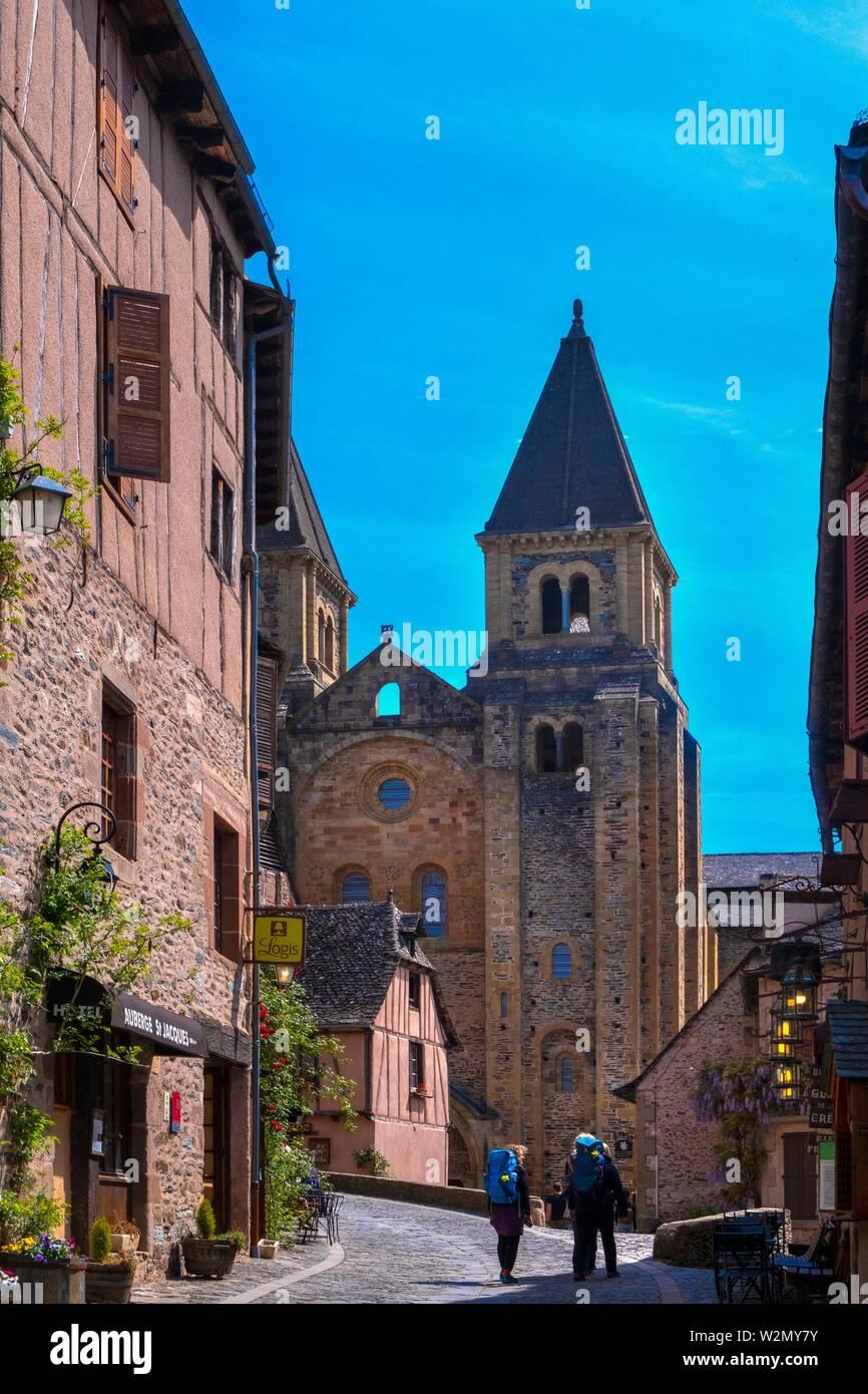 France, Occitanie, Lot,  the village of Conques. Pilgrimage way to Santiago de Compostela. - Stock Image