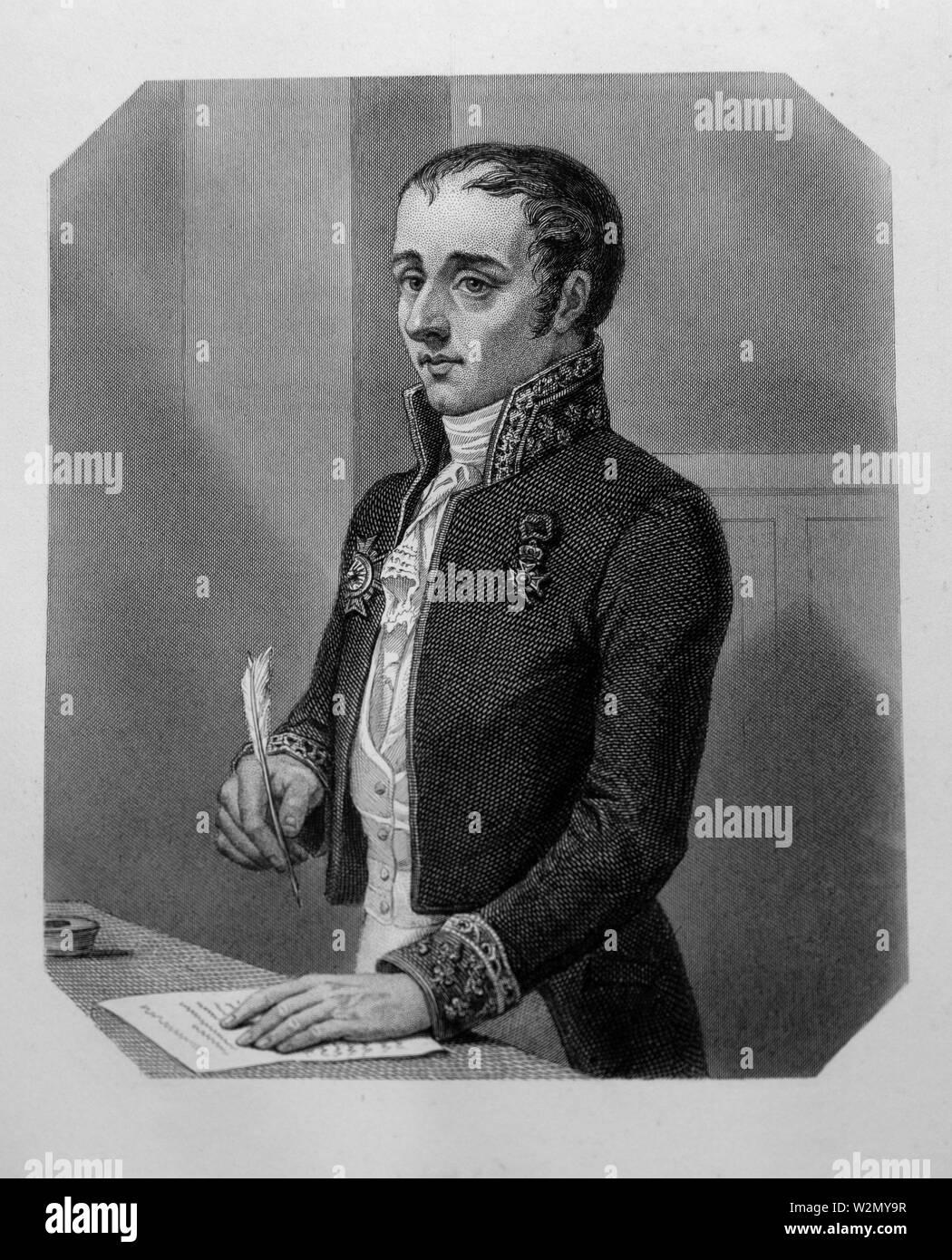 Joseph-Henri-Joachim Lainé.Joseph-Henri-Joachim1, vicomte Lainé, né le 11 novembre 1768 à Bordeaux et mort le 17 décembre 1835 à Paris, est un avocat - Stock Image