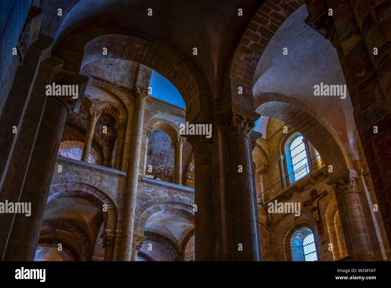 France, Occitanie, Lot,  the Abbey Church of Conques. Pilgrimage way to Santiago dee Compostela. - Stock Image