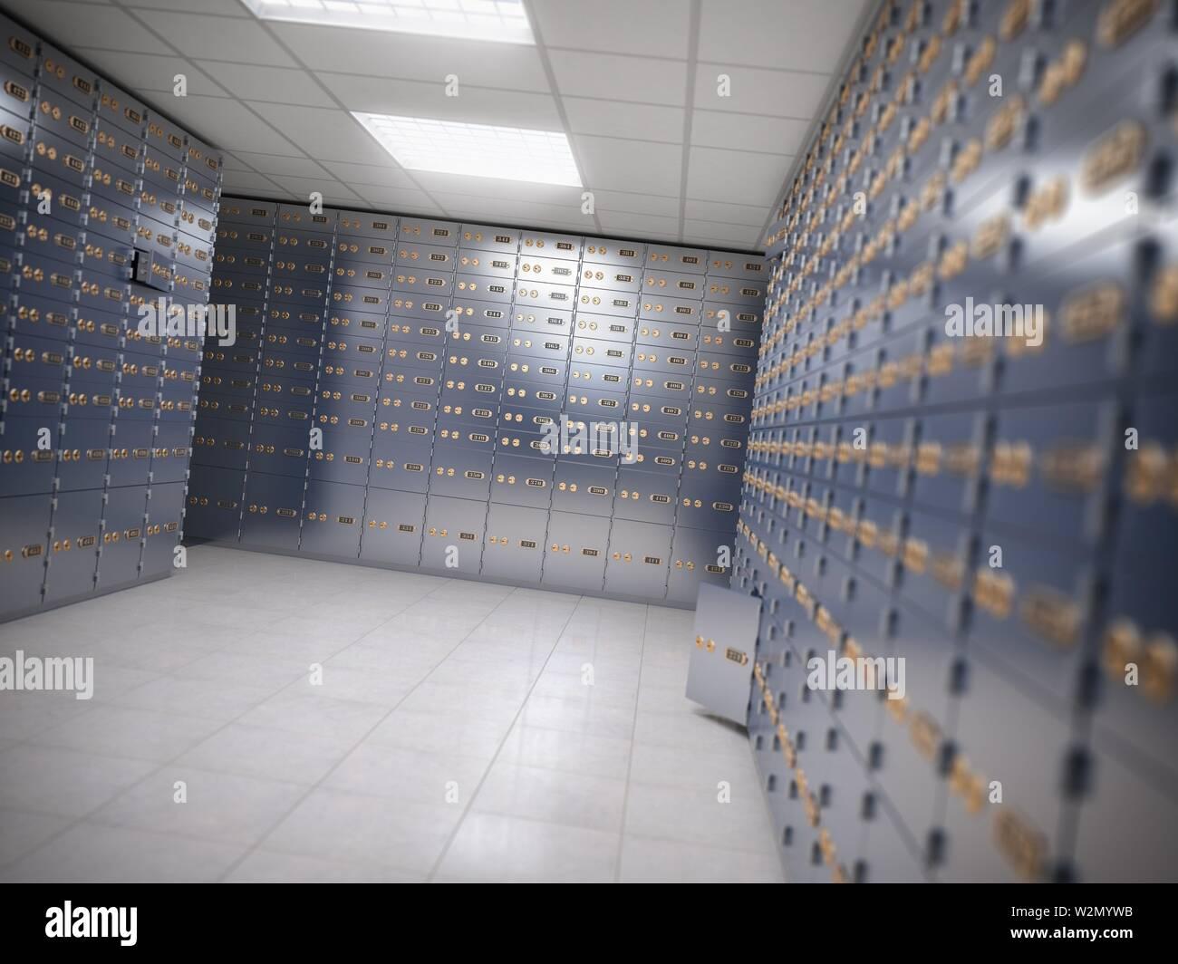 Safe deposit boxes room inside of a bank vault. 3d illustration. - Stock Image