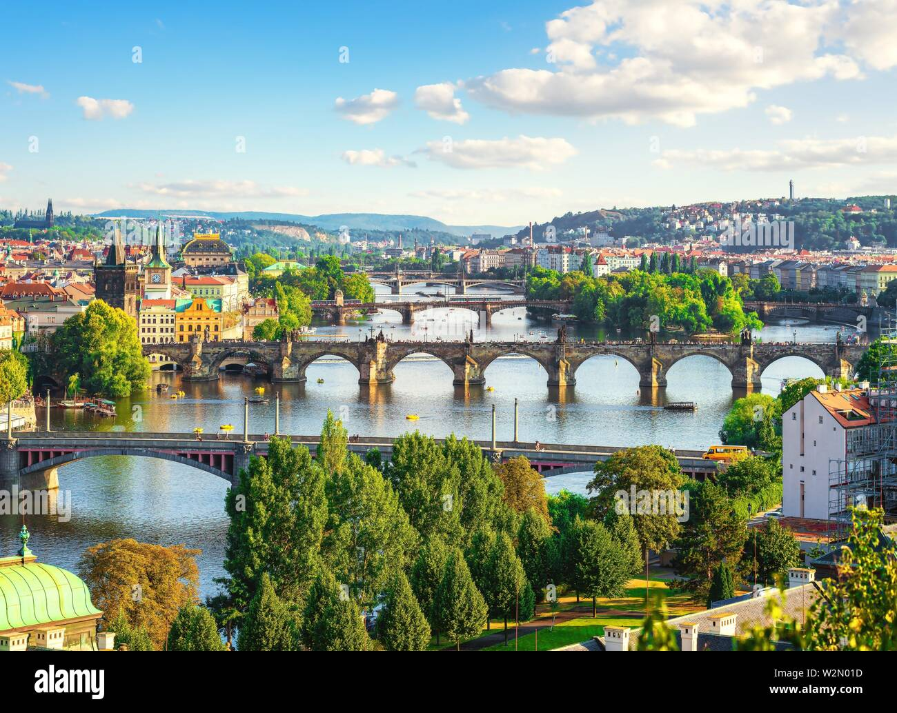 Row of bridges in Prague at summer day. - Stock Image