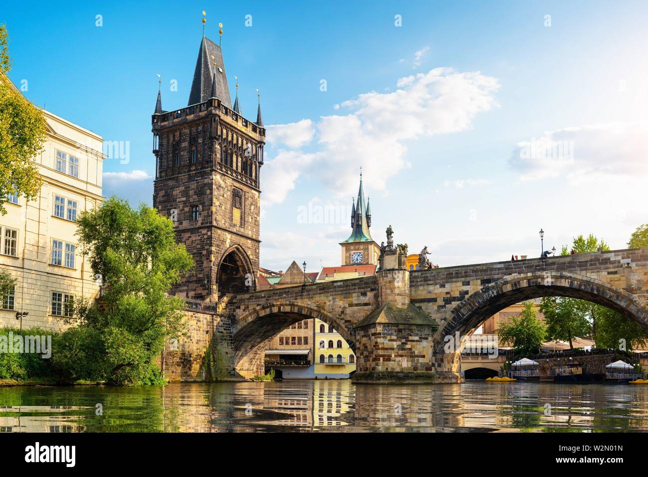 Tha Charles Bridge in Prague at summer day. - Stock Image