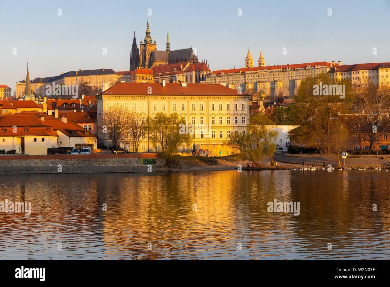 Panorama of Hradcany at sunrise, Czech Republic. - Stock Image