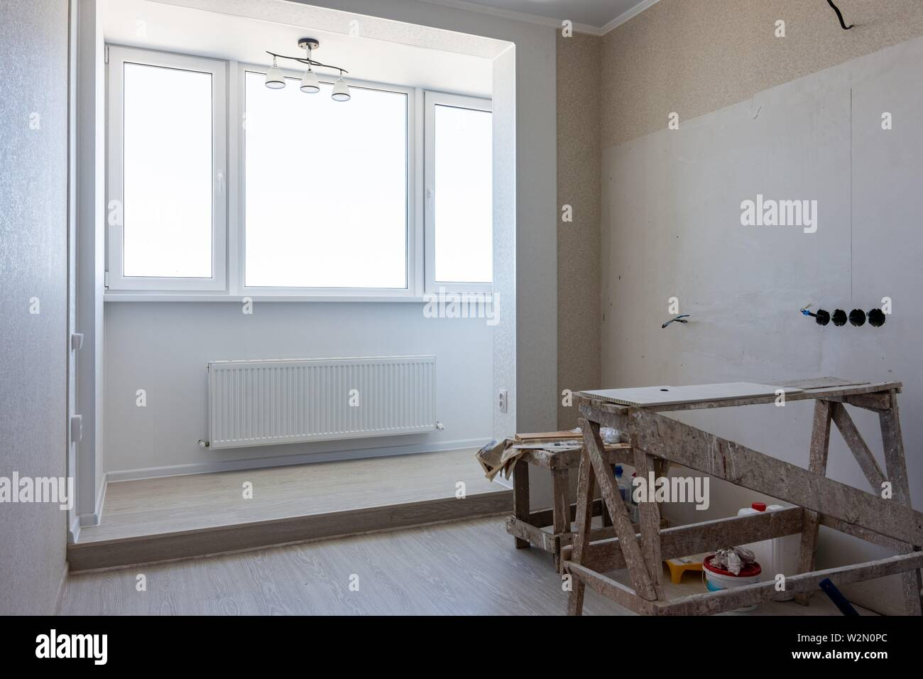 Repair and integration of loggias and rooms. - Stock Image
