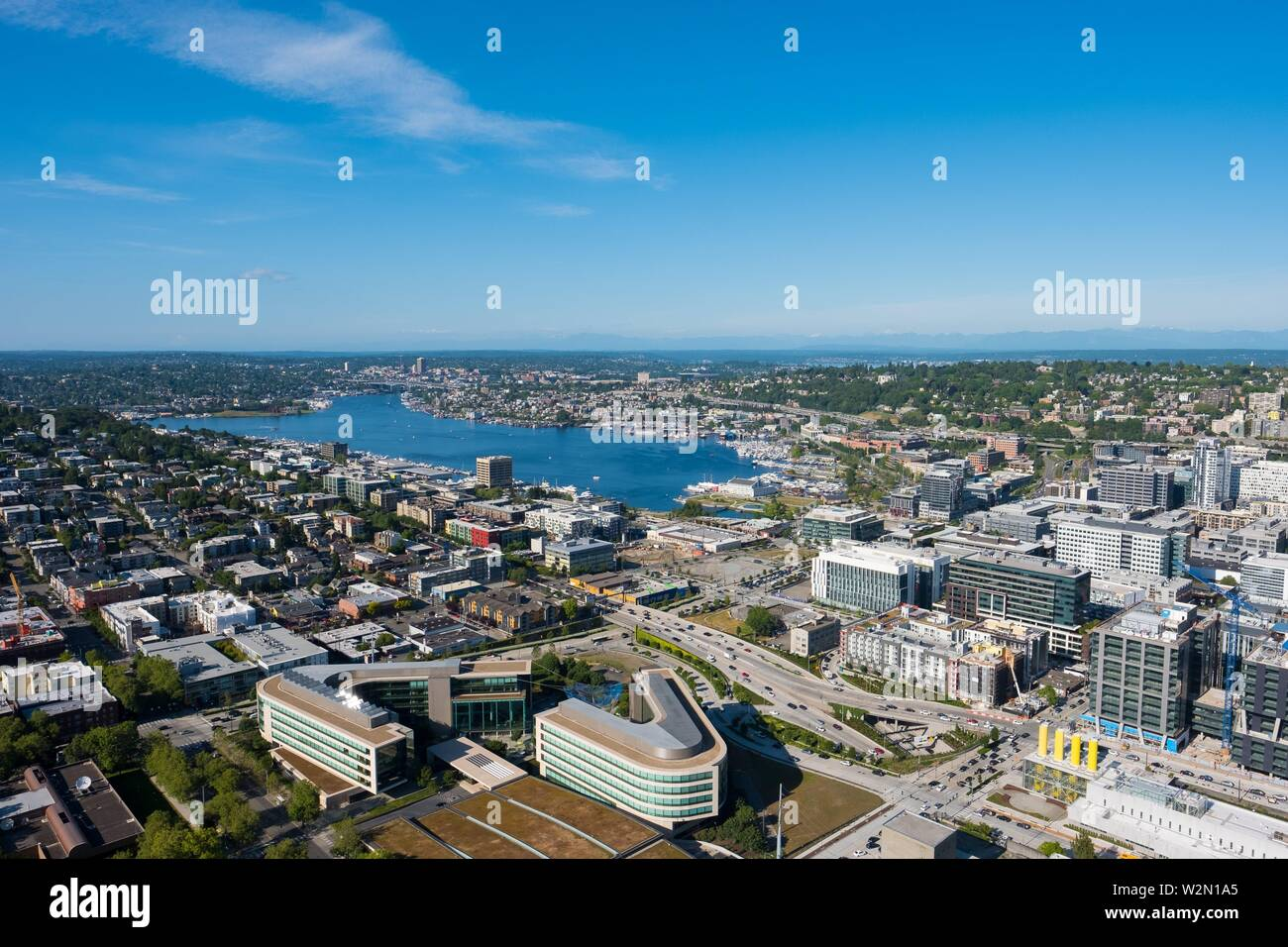Seattle, WA - June 4, 2019: View of Lake Union during a Spring day as seen from the top of the Space Needle facing North. - Stock Image