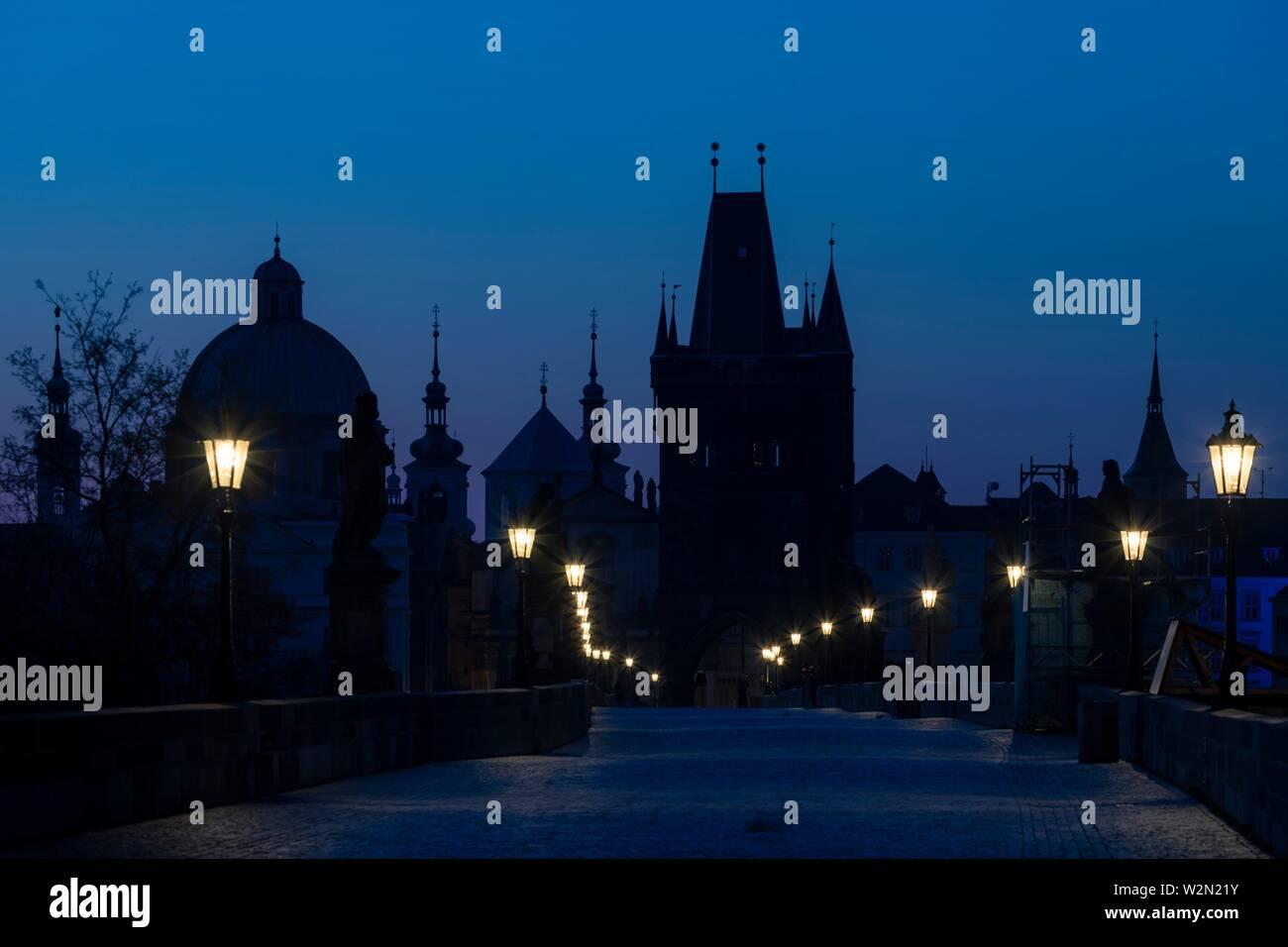 Charles bridge at Sunrise, Prague, Czech Republic. - Stock Image