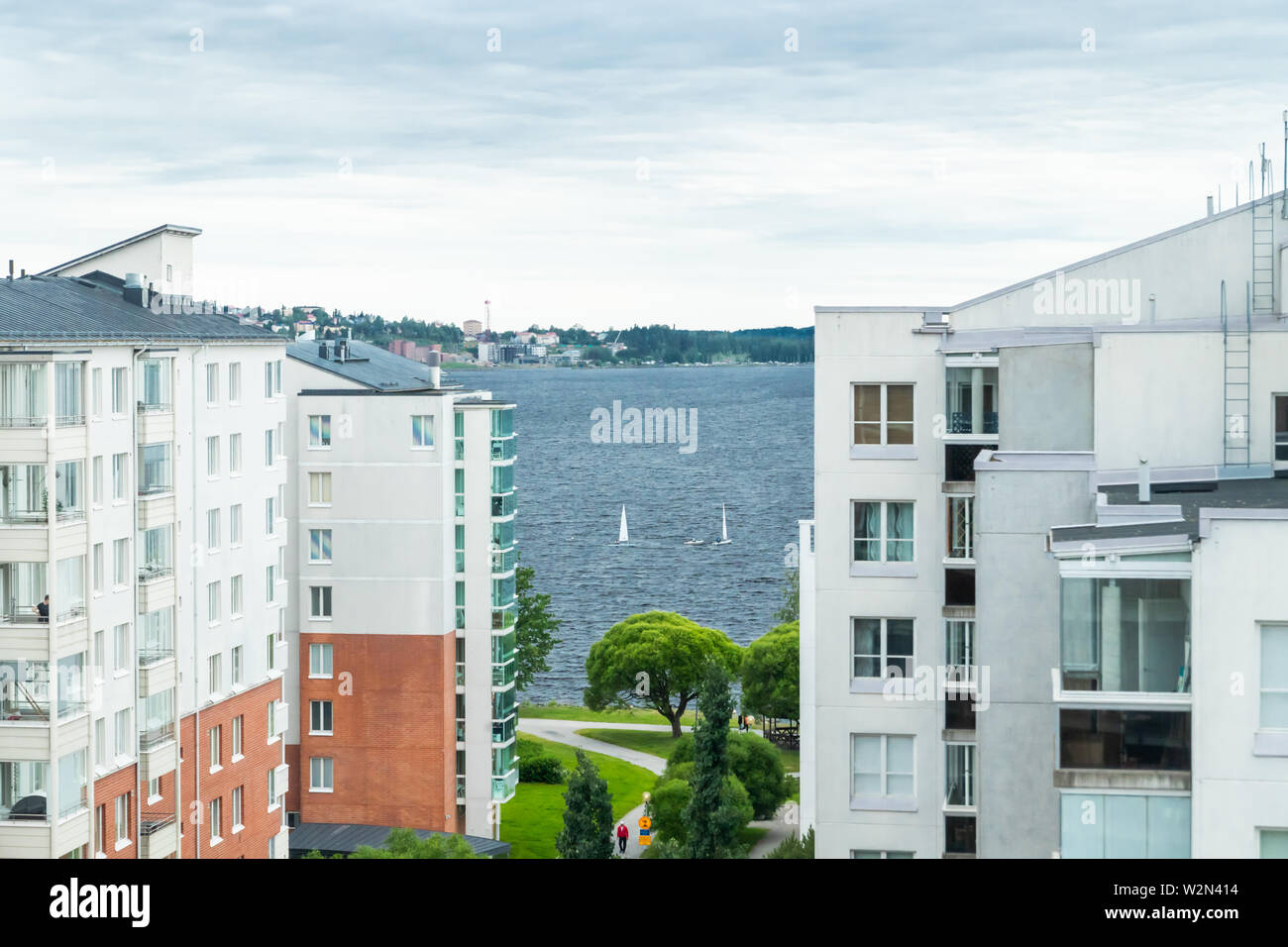 Tampere, Finland - June 25 2019: City view and boats on lake Nasijarvi - Stock Image