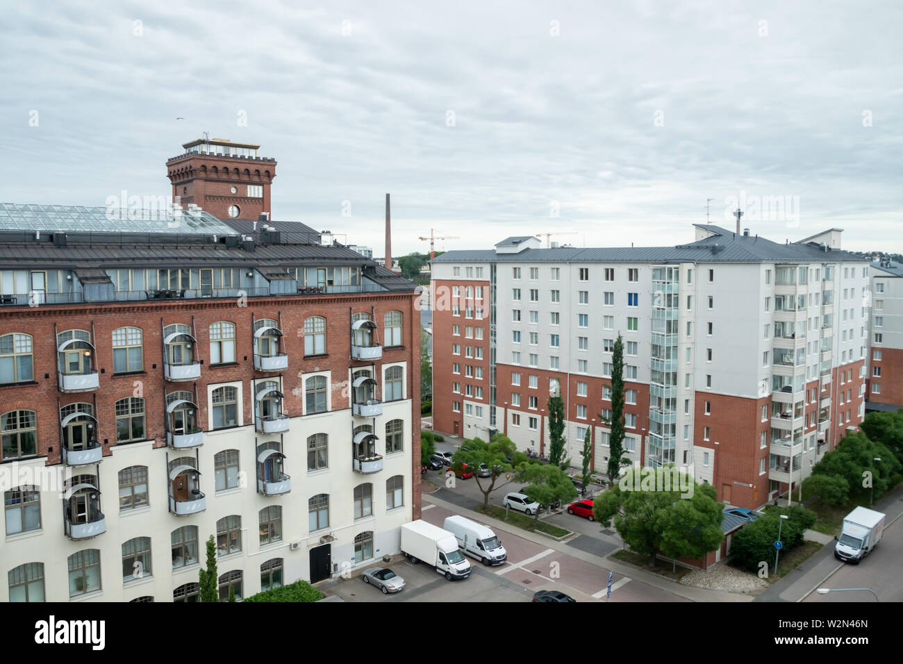 Tampere, Finland - June 25 2019: City view to the apartment buildings and hotel - Stock Image