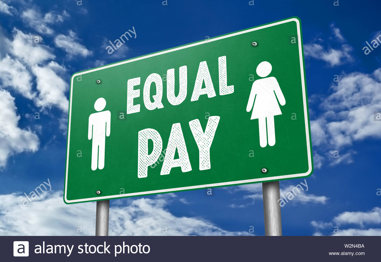 EQUAL PAY - traffic sign message as 3D-Illustration - Stock Image