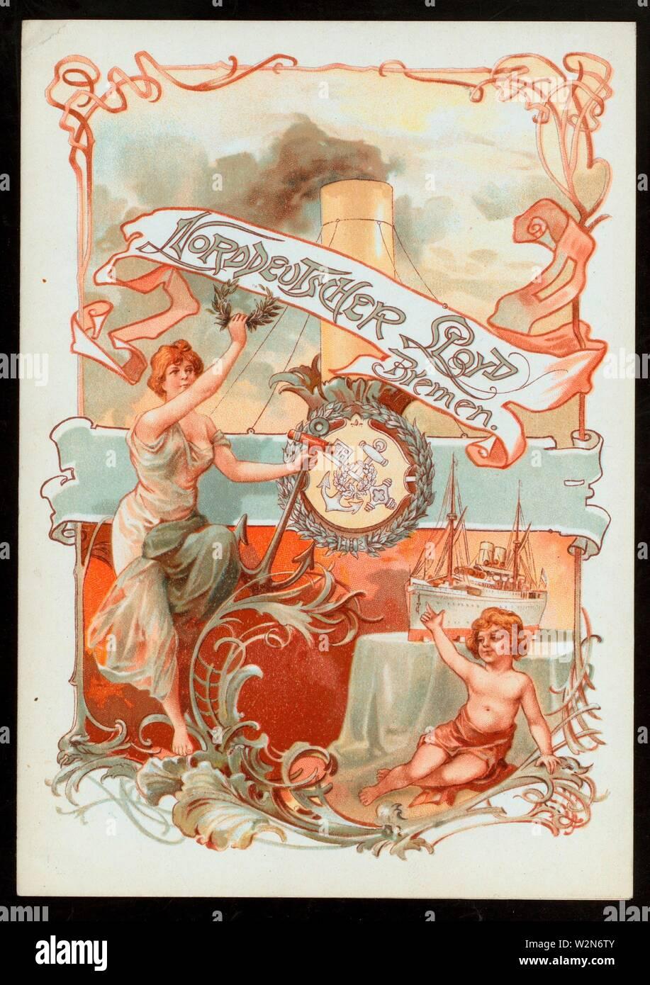 DINNER [held by] NORDDEUTSCHER LLOYD BREMEN [at] ''SS ''FRIEDRICH DER GROSSE'''' (SS;). Buttolph, Frank E., Miss (d. 1924) (Collector). The Buttolph - Stock Image