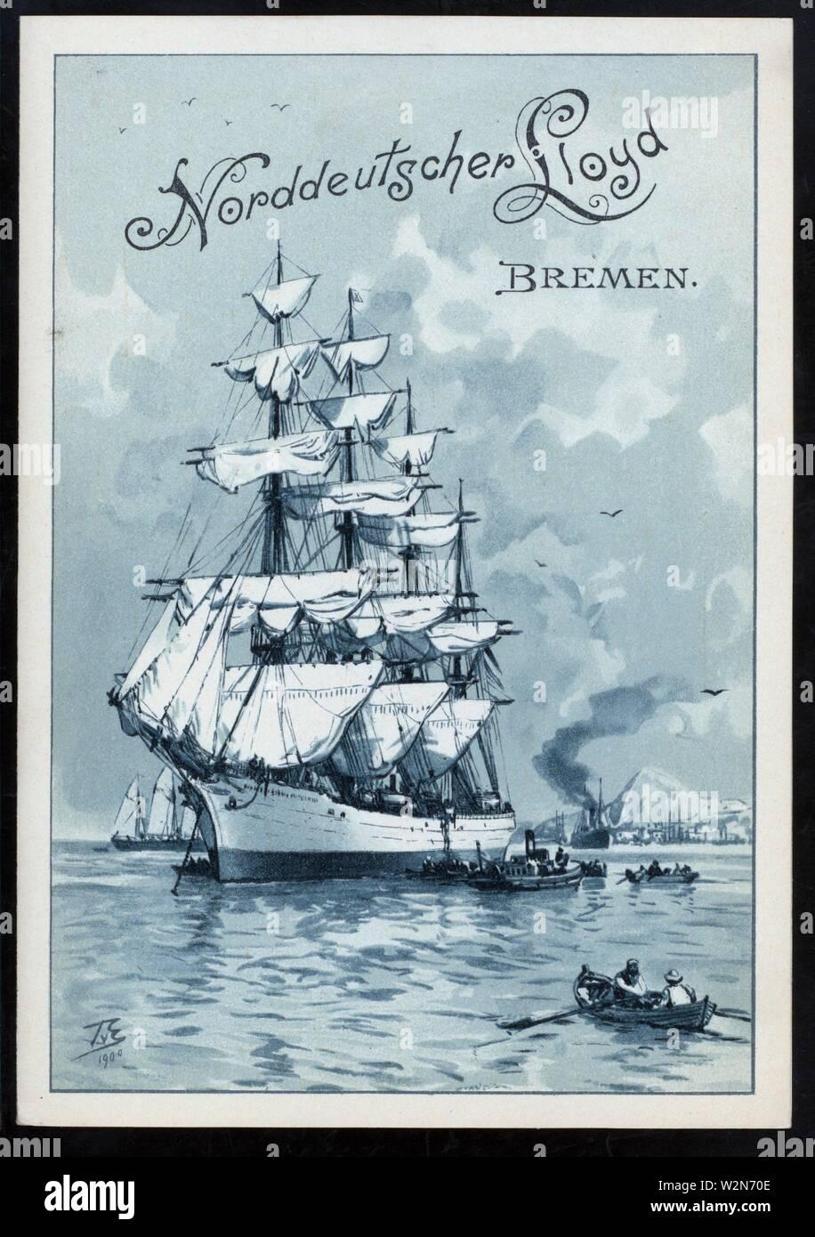 DINNER [held by] NORDDEUTSCHER LLOYD BREMEN [at] SS FRIEDRICH DER GROSSE (SS;). Buttolph, Frank E., Miss (d. 1924) (Collector). The Buttolph - Stock Image