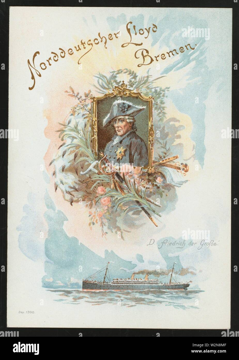 DINNER [held by] NORDEUTSCHER LLOYD BREMEN [at] EN ROUTE ABOARD SS FRIEDRICH DER GROSSE (SS;). Buttolph, Frank E., Miss (d. 1924) (Collector). The - Stock Image