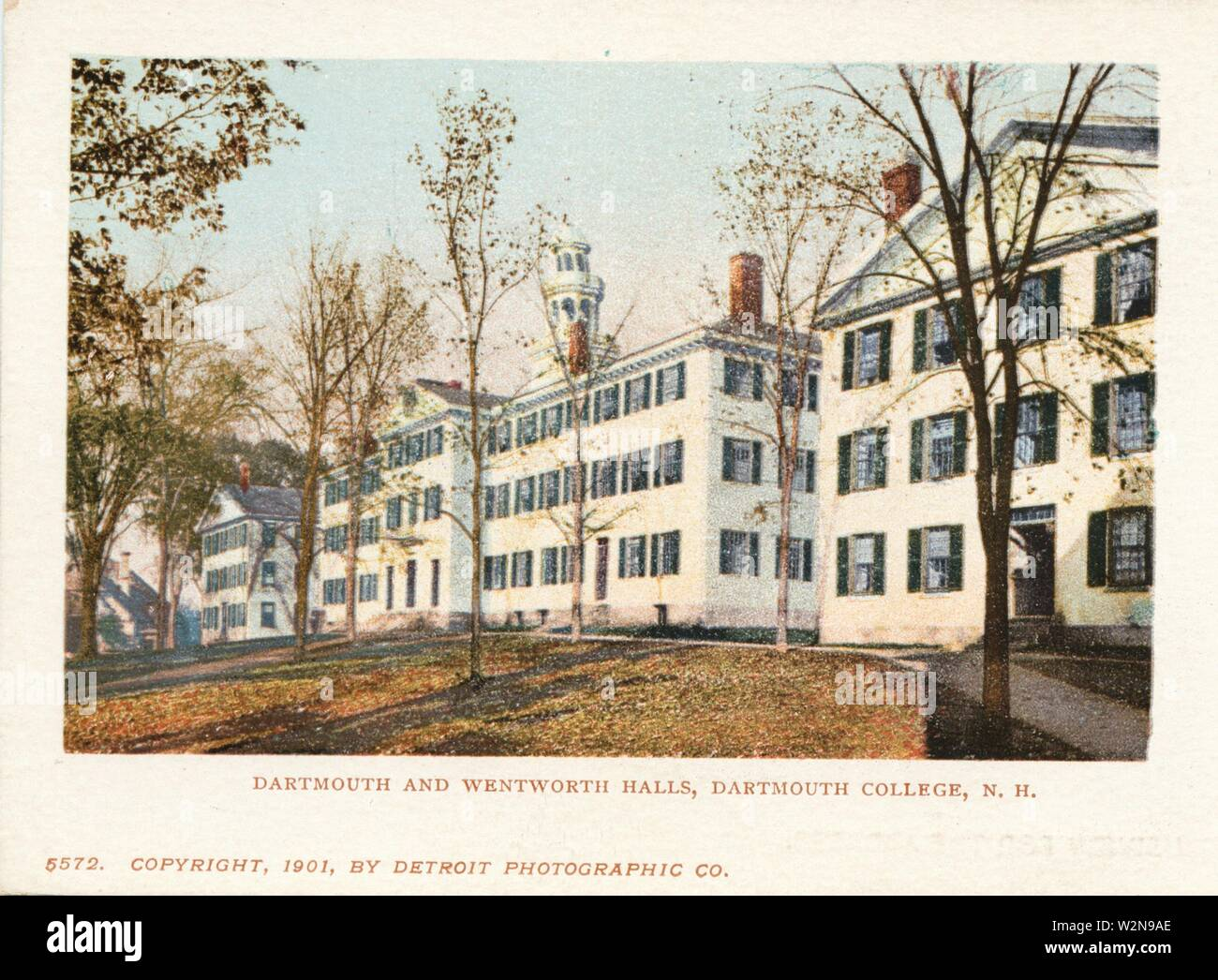 Dartmouth and Wentworth Halls, Dartmouth College, New Hampshire. Detroit Publishing Company postcards 5000 Series. Date Issued: 1898 - 1931 Place: Stock Photo