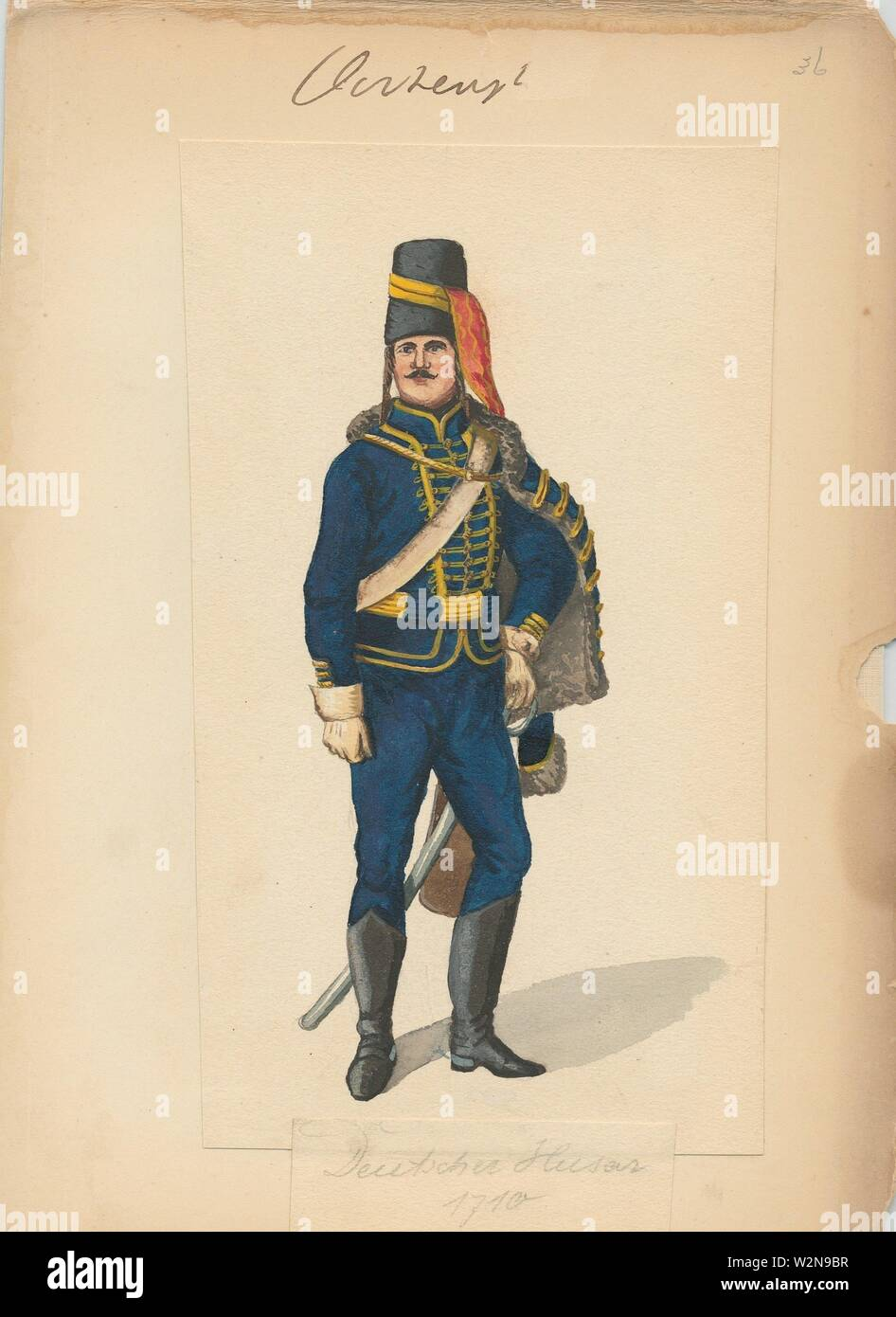 Deutscher Husar 1710. Vinkhuijzen, Hendrik Jacobus (Collector). The Vinkhuijzen collection of military uniforms Austria Austria, 1700-1750. Date - Stock Image