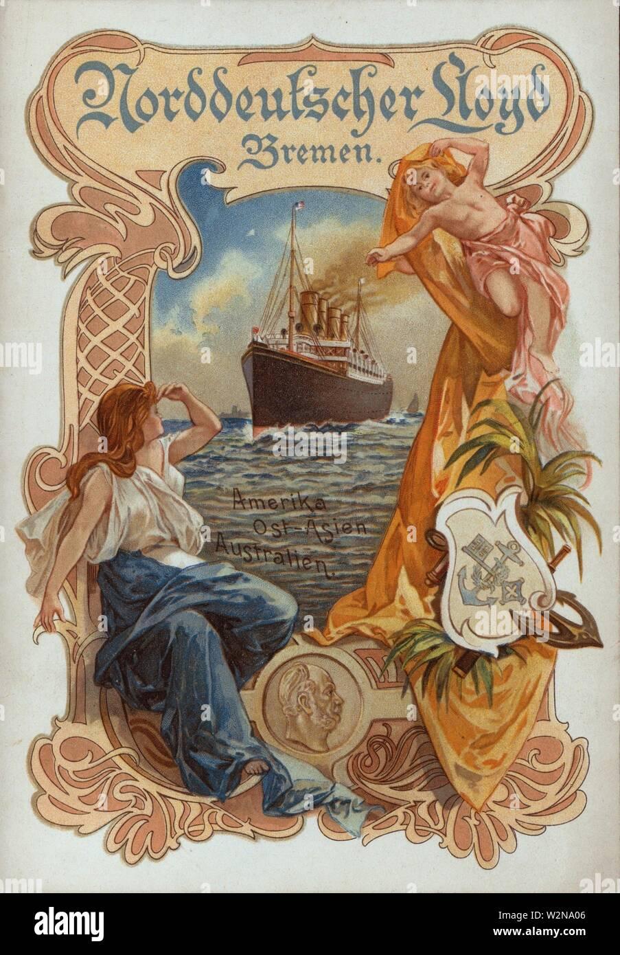 DINNER MENU [held by] NORDDEUTSCHER LLOYD BREMEN [at] ''S.S. ''KAISER WILHELM DER GROSSE'''' (SS;). Buttolph, Frank, 1850-1924 (Collector). The - Stock Image