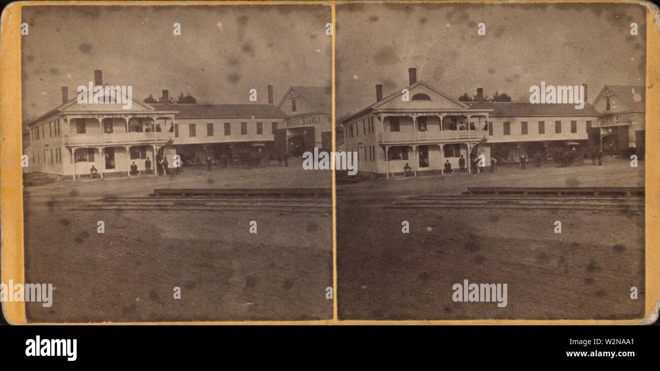 Dayville hotel and its stables. Robert N. Dennis collection of stereoscopic views United States States Connecticut Stereographs of New London, - Stock Image