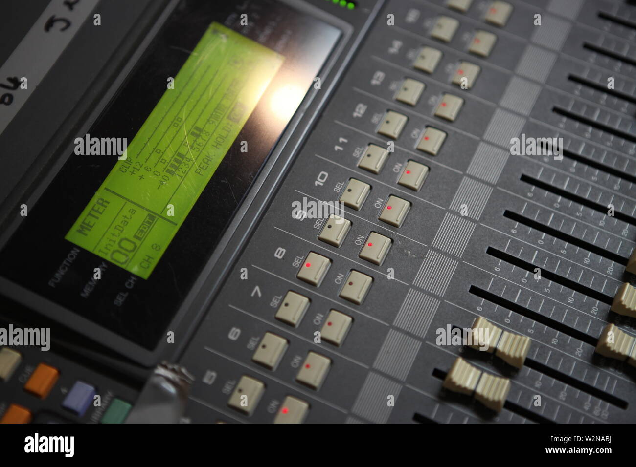 Sound mix board close up - Stock Image
