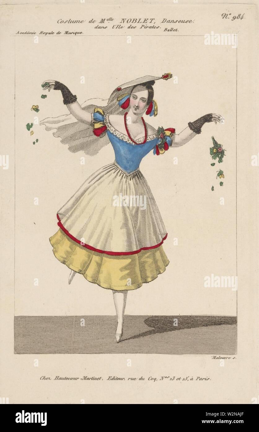 Costume de Melle Noblet, danseuse dans L'île des pirates. Ballet. Academie Royale de Musique. Maleuvre S. Additional title: Petite galerie dramatique - Stock Image