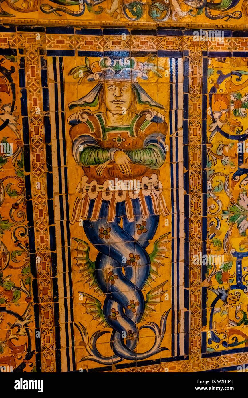 Detail of wall tiles, The Alcázar of Seville (Real Alcazar) is a royal palace in Seville, Spain, built for the Christian king Peter of Castile. - Stock Image