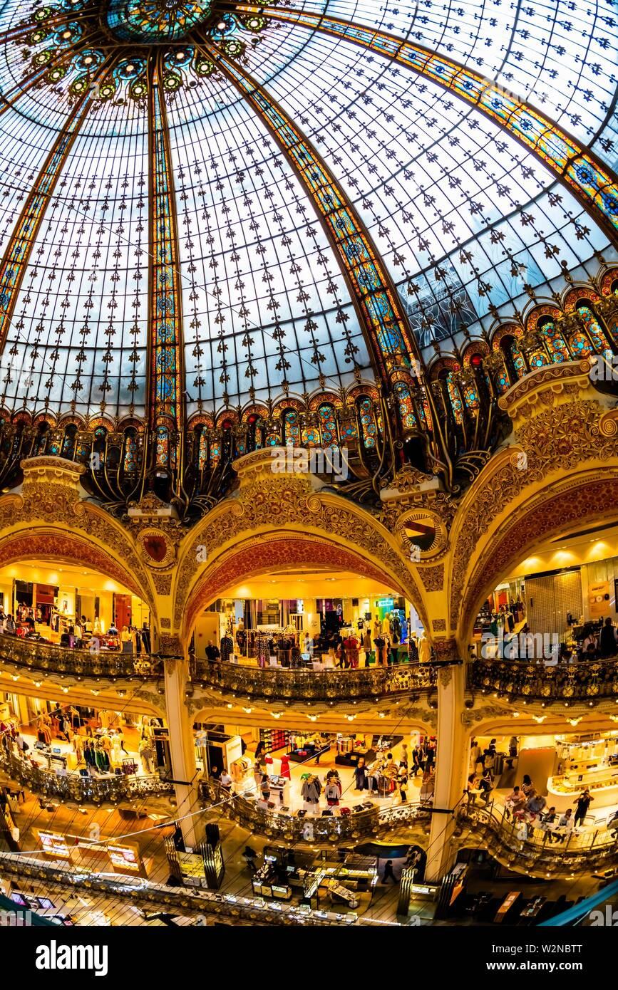 The art deco stained glass dome of Galeries Lafayette Paris Haussmann department store, Paris, France. Stock Photo