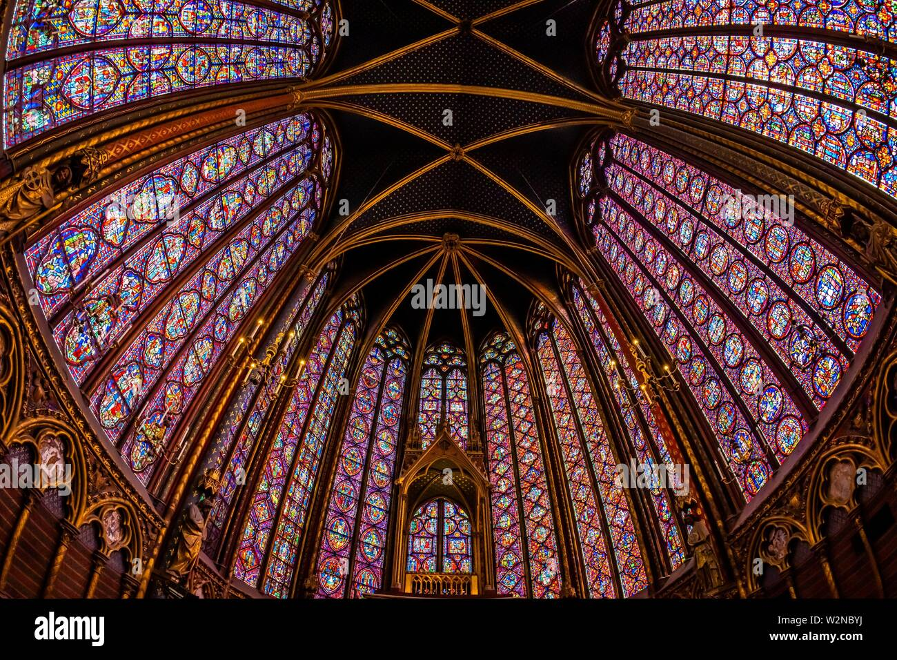 The Sainte-Chapelle is a royal chapel in the Gothic style, within the medieval Palais de la Cité, the residence of the Kings of France until the 14th - Stock Image