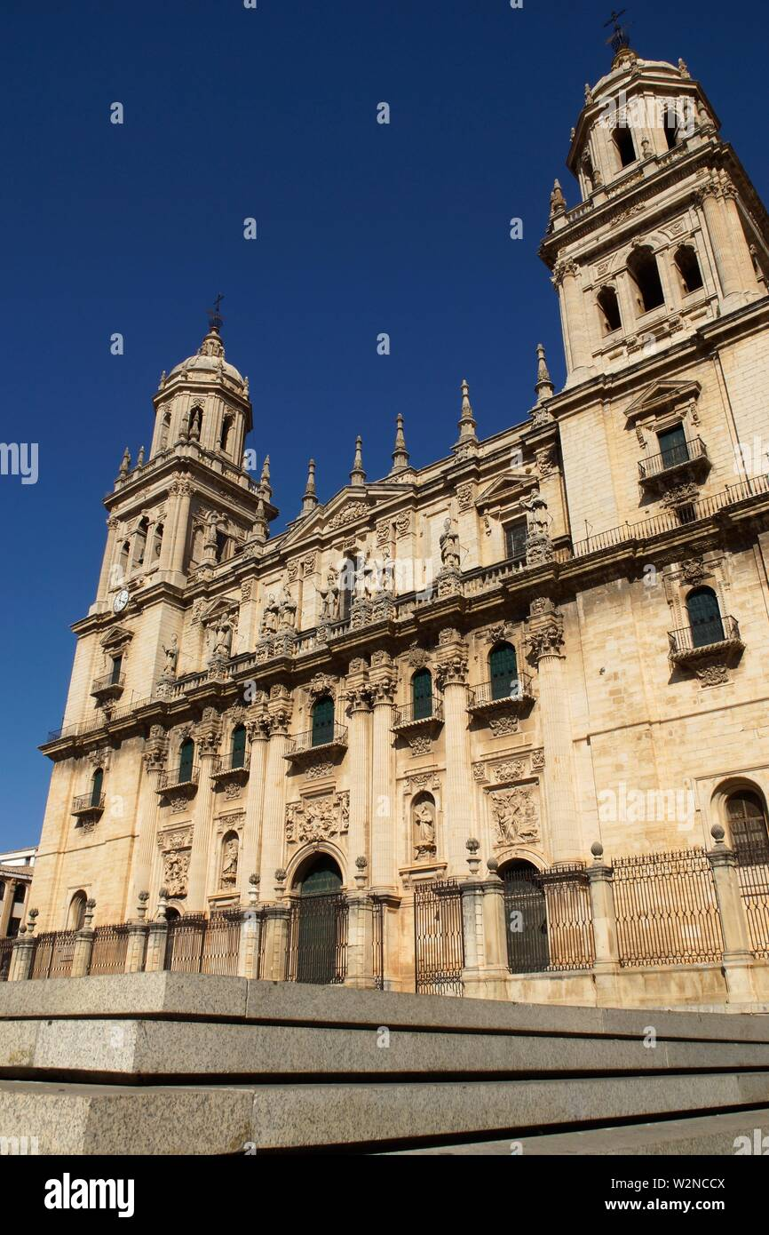 Jaén (Spain). Main facade of the Cathedral of the Assumption of Jaén. - Stock Image