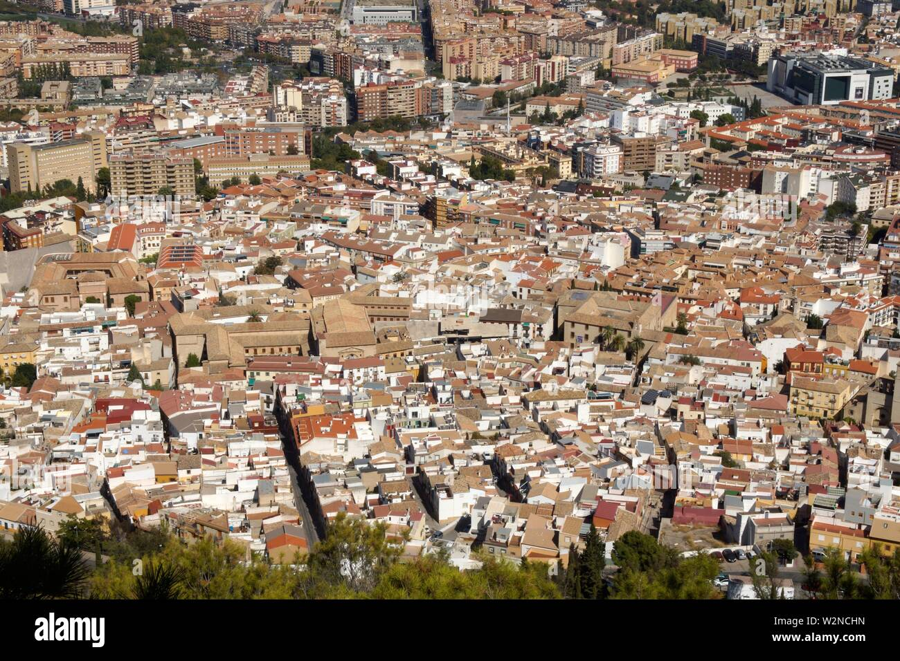Jaén (Spain). Overview of the historic center of the city of Jaén. - Stock Image