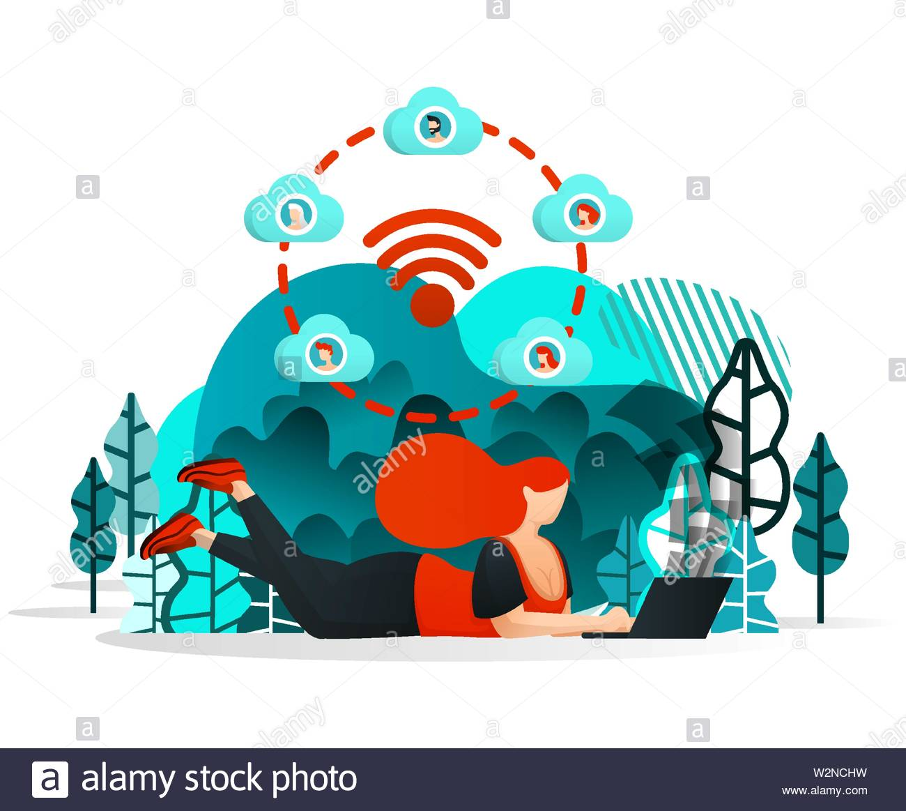 Internet of things to Share. Girl or People Can Work With Friend Anywhere Using Internet and Wifi Network. Flat Cartoon Style. Vector Illustration For - Stock Image