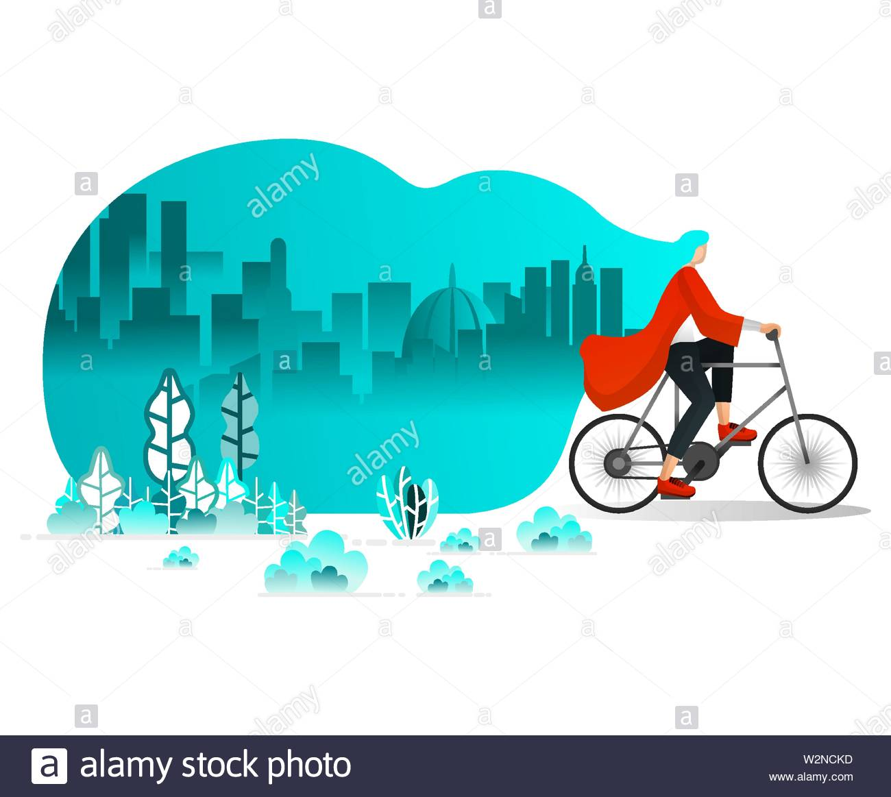 Women Riding Bicycle Around City in Summer, Strong wind in Park blowing hair, Cycling for Health. Flat Cartoon Style. Vector Illustration For Web Page - Stock Image