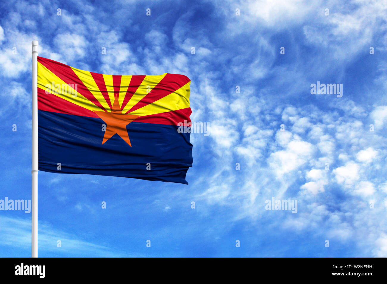 National flag State of Arizona on a flagpole in front of blue sky - Stock Image