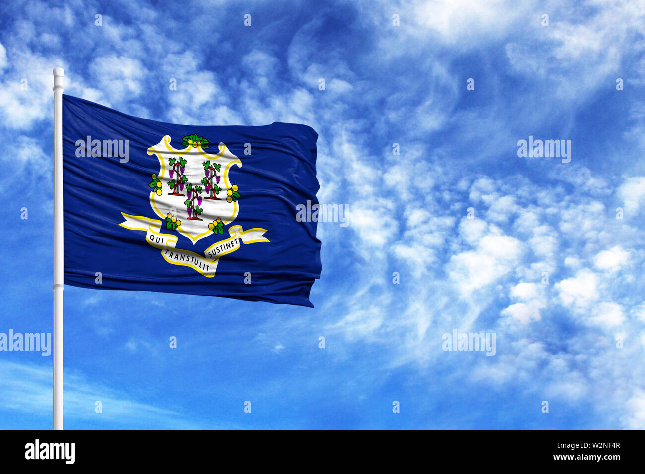 National flag State of Connecticut on a flagpole in front of blue sky - Stock Image