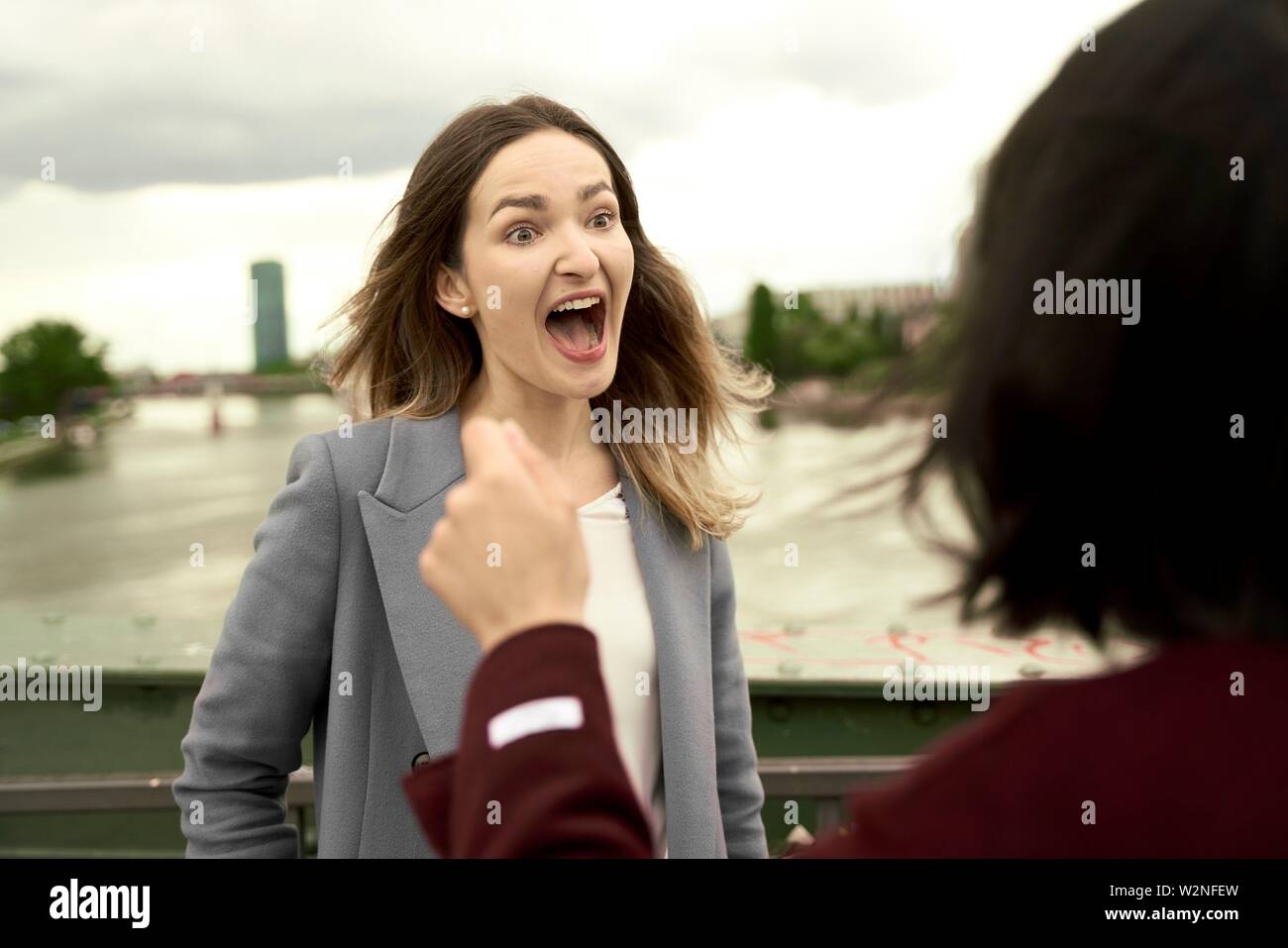 excited woman talking to opponent on bridge over river Main, in Frankfurt am Main, Germany Stock Photo