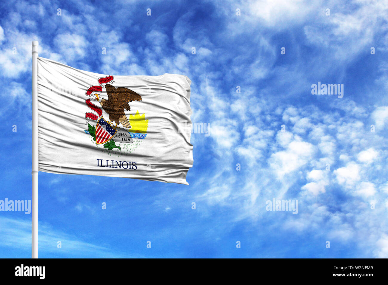 National flag State of Illinois on a flagpole in front of blue sky - Stock Image