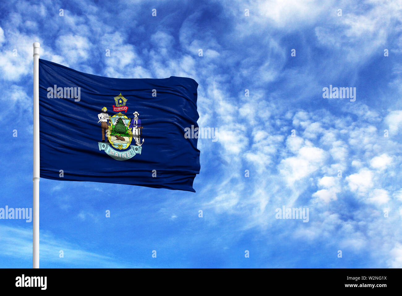National flag State of Maine on a flagpole in front of blue sky - Stock Image