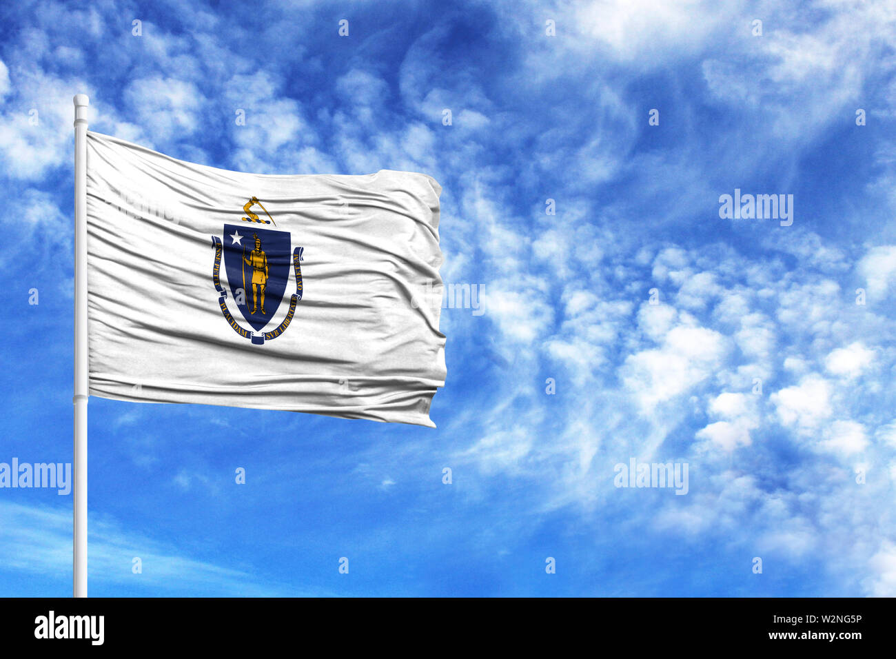 National flag State of Massachusetts on a flagpole in front of blue sky - Stock Image