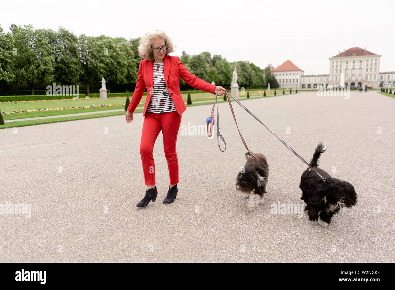 senior woman (67 years old) walking with two dogs on leash in park at touristic sight Nymphenburg palace, in Munich, Germany. - Stock Image